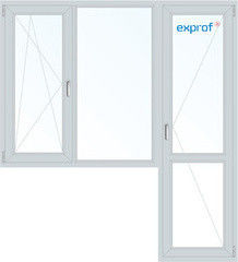 Окно ПВХ Exprof 1860*2160 1К-СП, 3К-П, П/О+Г+П