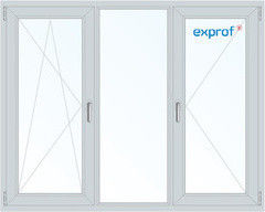 Окно ПВХ Exprof 2060*1420 1К-СП, 5К-П, П/О+Г+П