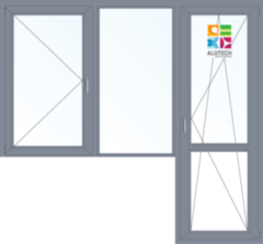 Алюминиевое окно Alutech C48 1860*2160 1К-СП П+Г+П/О