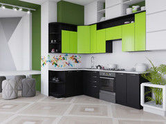 Кухня Кухня Артем-мебель Виола ДСП черный/лайм