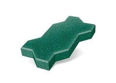 """Резиновая плитка Rubtex Брусчатка """"Волна"""" 220x130 (толщина 40 мм, зеленая)"""