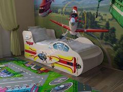 Детская кровать Детская кровать СлавМебель Самолет 160/70 с двумя ящиками (молочный)