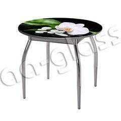 Обеденный стол Обеденный стол AA-Glass Стол круглый D90 (опора труба изогнутая с обвязкой)