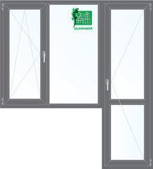 Окно ПВХ Окно ПВХ Salamander Ламинированное окно ПВХ 1860*2160 2К-СП, 5К-П, П/О+Г+П (серый)