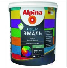 Эмаль Эмаль Alpina Аква колеруемая шелковисто-матовая База1 (2.5 л / 3.05 кг)