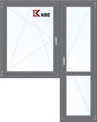 Окно ПВХ Окно ПВХ KBE 1440*2160 2К-СП, 5К-П, П/О+П ламинированное (серый)