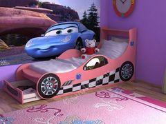 Детская кровать Детская кровать СлавМебель Машинка 160 см с ящиком (розовый)