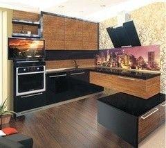 Кухня Кухня ЗОВ Фасад Акрил 5 черный + зебрано светлый