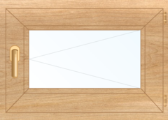 Деревянное окно Ольха для бани, сауны 500x600, стеклопакет