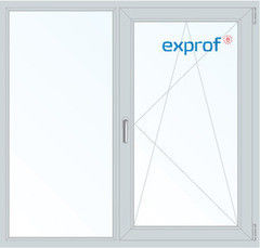 Окно ПВХ Окно ПВХ Exprof 1300*1420 2К-СП, 3К-П, Г+П/О