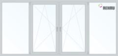 Балконная рама Балконная рама Rehau 2450x1450 1К-СП, 5К-П, Г+П/О+П/О+Г