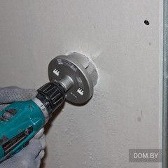 Услуга Сверление отверстия под электроточку (гипсокартон)