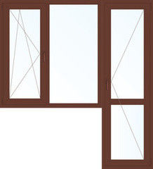 Деревянное окно Меранти 1860*2160, в/с, П/О+Г+П