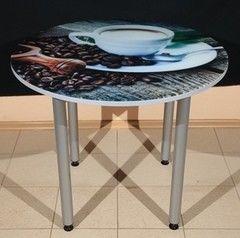 Обеденный стол Обеденный стол ИП Колеченок И.В. стекло с УФ-печатью круглый 1000x22 (ножки Тирамису)