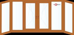 Балконная рама Балконная рама Brusbox 4400*1450 1К-СП, 4К-П, Г+Г+П/О+П/О+Г+Г (П-образная) c двухсторонней ламинацией