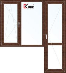 Окно ПВХ Окно ПВХ KBE 1860*2160 2К-СП, 5К-П, П/О+Г+П ламинированное (темное дерево)