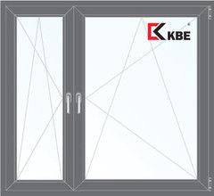 Окно ПВХ Окно ПВХ KBE 1460*1400 2К-СП, 5К-П, П/О+П/О ламинированное (серый)