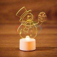 Декоративная светотехника NEON-NIGHT Снеговик с подарком 2D на подставке 501-054
