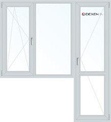 Окно ПВХ Dexen 1860*2160 2К-СП, 4К-П, П/О+Г+П