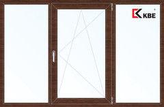 Окно ПВХ Окно ПВХ KBE 2060*1420 2К-СП, 5К-П, Г+П/О+Г ламинированное (темное дерево)