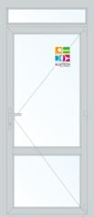 Алюминиевая дверь Alutech ALT C48 900x2400 2К-СП, 1К-П Одностворчатая с импостом и доп окном