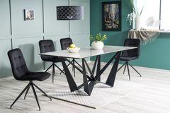 Обеденный стол Обеденный стол Signal Aston II Ceramic 180 (серый мрамор/черный матовый)