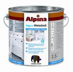 Эмаль Эмаль Alpina Aqua-Weisslack Seidenmatt Weiss 2,5 л