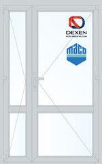 Дверь ПВХ Дверь ПВХ Dexen 1300*2100 двустворчатая Модель 61