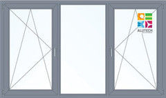 Алюминиевое окно Alutech 2700*1600 ПО+Г+ПО