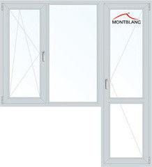 Окно ПВХ Окно ПВХ Montblanc Eco 60 1860*2160 1К-СП, 3К-П, П/О+Г+П