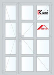 Дверь ПВХ Дверь ПВХ KBE 1350*2100 двустворчатая  Модель 94