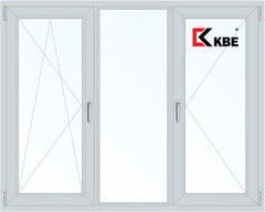 Окно ПВХ KBE 2060*1420 2К-СП, 5К-П, П/О+Г+П