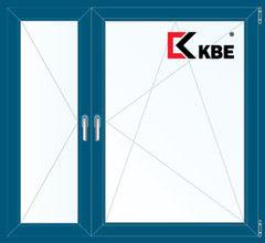 Окно ПВХ Окно ПВХ KBE 1460*1400 2К-СП, 5К-П, П+П/О ламинированное (темно-синий)