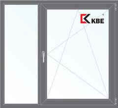 Окно ПВХ KBE 1460*1400 2К-СП, 5К-П, Г+П/О ламинированное (серый)