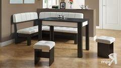 Кухонный уголок, диван ТриЯ Альфа МФ-100.001 (Венге Цаво / Белый кожзам)