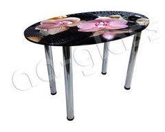 Обеденный стол Обеденный стол AA-Glass Стол овальный 110х70 (опора труба d60)