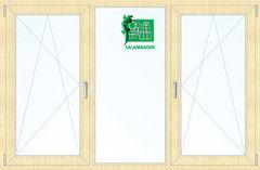 Окно ПВХ Окно ПВХ Salamander 2060*1420 2К-СП, 5К-П, П/О+Г+П/О ламинированное (светлое дерево)
