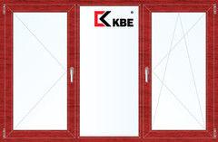 Окно ПВХ KBE 2060*1420 2К-СП, 5К-П, П+Г+П/О ламинированное (вишня)