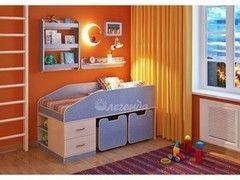 Детская кровать Детская кровать Легенда 8 с полками (венге светлый+лен голубой)