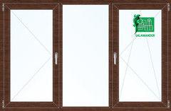Окно ПВХ Окно ПВХ Salamander 2060*1420 2К-СП, 5К-П, П+Г+П/О ламинированное (темное дерево)