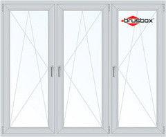 Окно ПВХ Окно ПВХ Brusbox 2060*1420 1К-СП, 4К-П, П/О+П/О+П/О