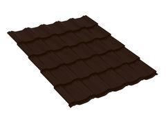 Металлочерепица Металлочерепица Скайпрофиль Вилейская волна Стальной бархат 0,50 мм 400 х 30 мм RAL8017 (шоколадно-коричневый)