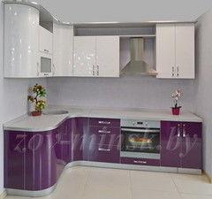 Кухня Кухня на заказ ЗОВ пластик Белый лотос-Баклажан