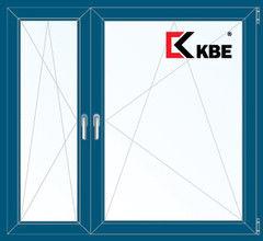 Окно ПВХ Окно ПВХ KBE 1460*1400 2К-СП, 5К-П, П/О+П/О ламинированное (темно-синий)