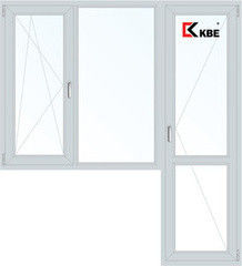 Окно ПВХ Окно ПВХ KBE 1860*2160 2К-СП, 3К-П, П/О+Г+П