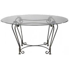 Обеденный стол Обеденный стол Грифонсервис кованый со стеклянной столешницей КОВ4