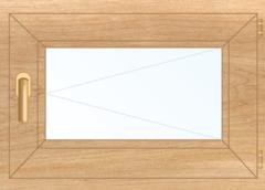 Деревянное окно Липа для бани, 450*450, стеклопакет