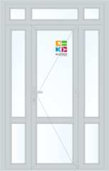 Алюминиевая дверь Alutech ALT C48 1500x2400 2К-СП, 1К-П Одностворчатая с импостом и доп окнами