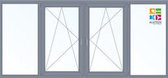 Алюминиевое окно Alutech C48 3000*1450 1К-СП Г+П/О+П/О+Г