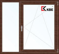 Окно ПВХ Окно ПВХ KBE Пластиковое окно 1460*1400 2К-СП, 5К-П, Г+П/О ламинированное (темное дерево)